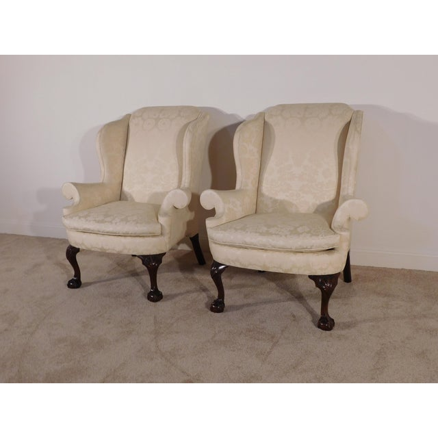 Chippendale Kindel Winterthur Mahogany & Yellow Damask Easy Wingback Fireside Chairs - a Pair For Sale - Image 3 of 13