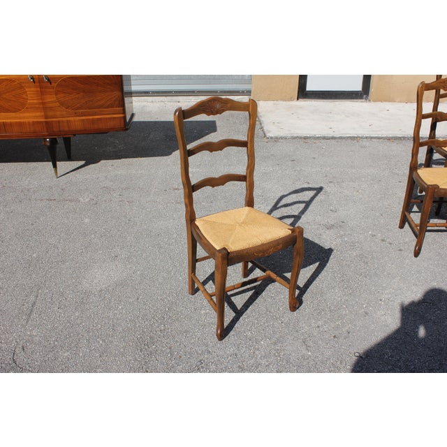 1910s Vintage French Country Rush Seat Solid Walnut Dining Chairs - Set of 6 For Sale - Image 9 of 13