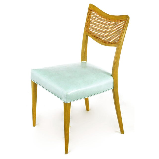 Harvey Probber Tiffany Blue Leather and Mahogany Side Chair - Image 2 of 9