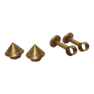 German Solid Brushed Brass Drapery Hardware - Set of 4