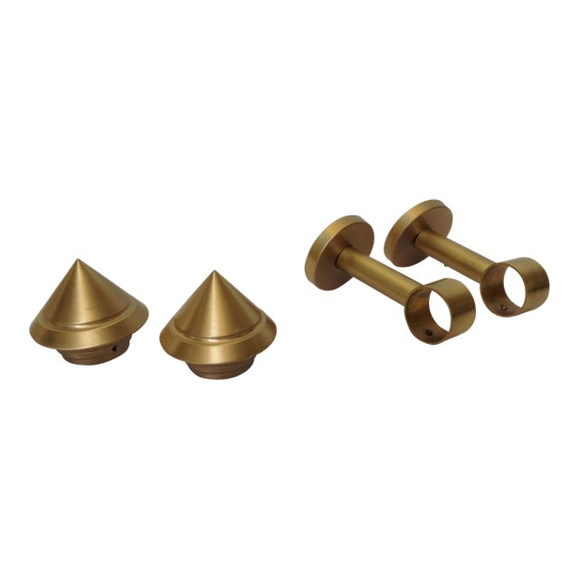 German Solid Brushed Brass Drapery Hardware - Set of 4 For Sale