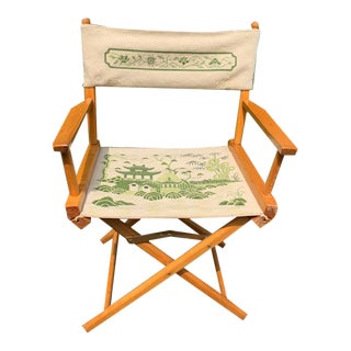 Vintage 1970's Chinoiserie Needlepoint Chair For Sale