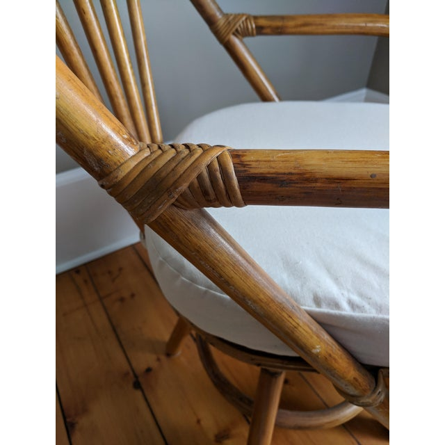 Swivel Bamboo Armchairs - Set of 4 For Sale In New York - Image 6 of 13