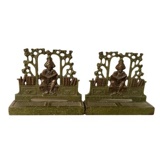 Art Nouveau Bronze Toned Bookends of a Scholar Reading - a Pair For Sale