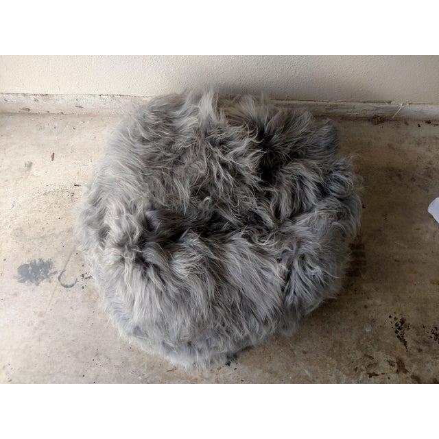 Moon Gray Sheepskin Bean Bag Chair - Image 4 of 7