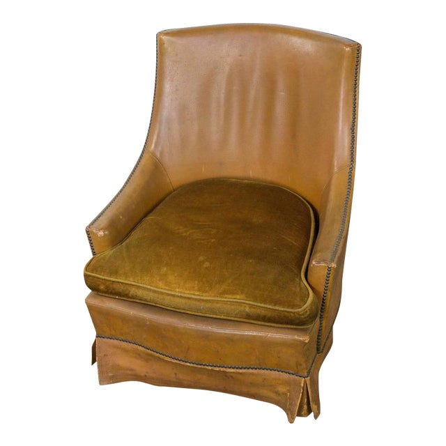 French Leather Armchair With Brass Nailheads - Image 1 of 10