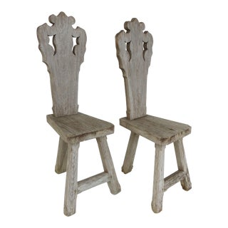 Rustic Cypress Wood Occasional Chairs - A Pair