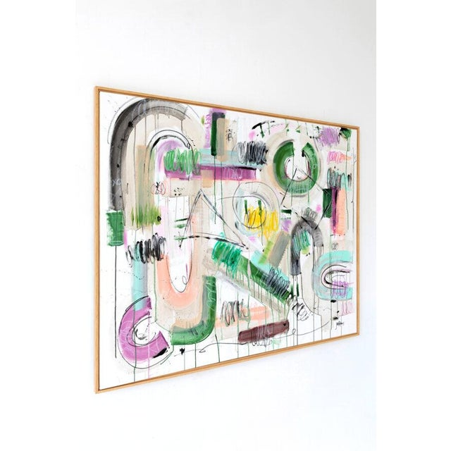 Original abstract painting by Jen Ramos. Signed, unframed. Medium: acrylic and crayon on canvas. Size: 60″ x 48″. Shown in...