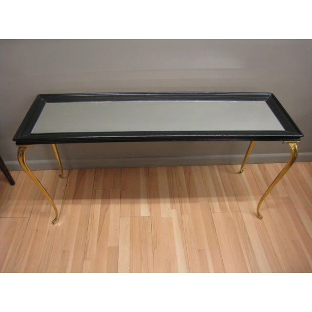 Brandt Solid Brass and Black Mirrored Console - Image 3 of 11