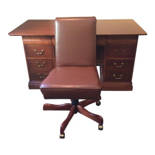Hooker Cherry Desk & Leather Chair For Sale