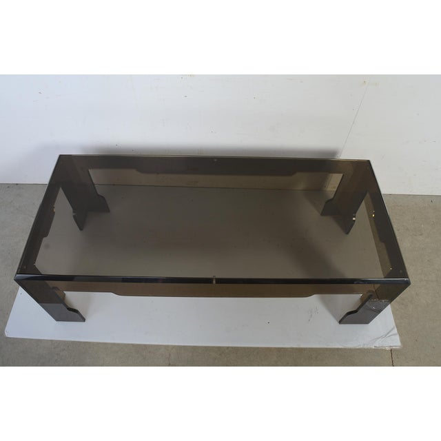 Glass Jeffrey Bigelow Lucite Glass Coffee Table For Sale - Image 7 of 9