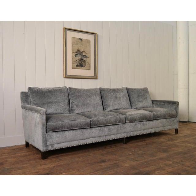 LEE Industries 1935-44 Extra Long sofa. * Walnut Legs. * Plush Vintage Style Bellagio Slate Velvet. * Small Brass...