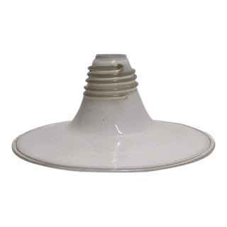 Mid 20th Century Hand Blown Murano Glass White Flat Brim Pendant Light For Sale