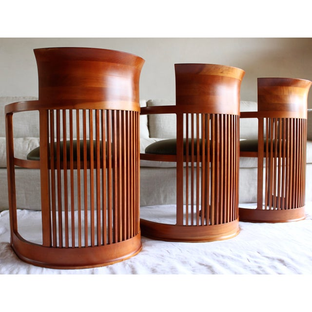 "1980s Vintage Italian Frank Lloyd Wright ""Taliesin 606"" Cherry Barrel Chair For Sale - Image 5 of 13"