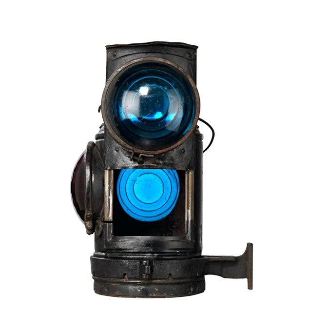 Black Three Lens Adlake Railroad Switching Lantern/Light For Sale - Image 8 of 12