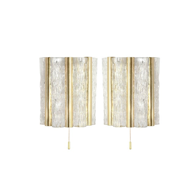 Pair of sconces or wall lights designed by Doria Leuchten. Murano glass tubes in mint condition, brass retains original...