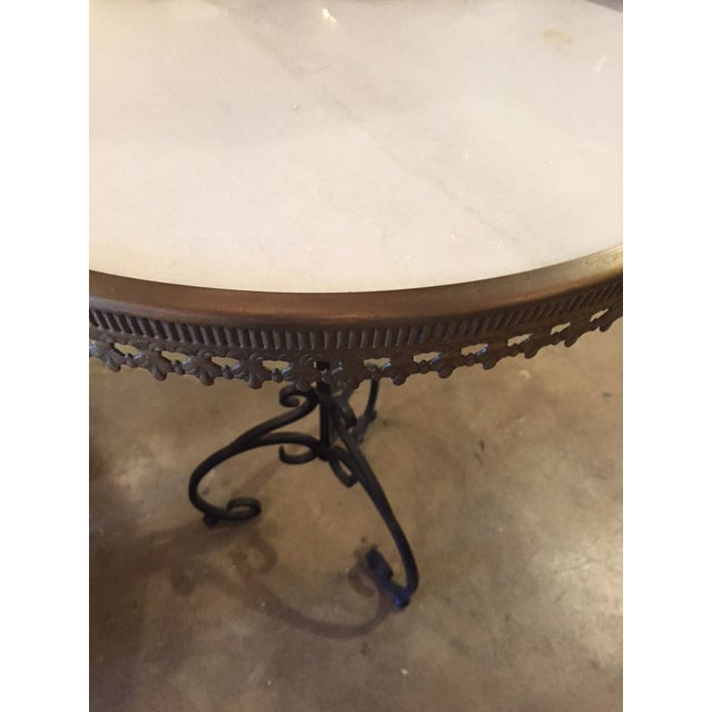 Italian Wrought Iron Base & Marble Top Bistro Table - Image 3 of 6