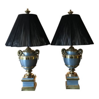 Maison Jansen Attributed Brass Table Lamps - a Pair