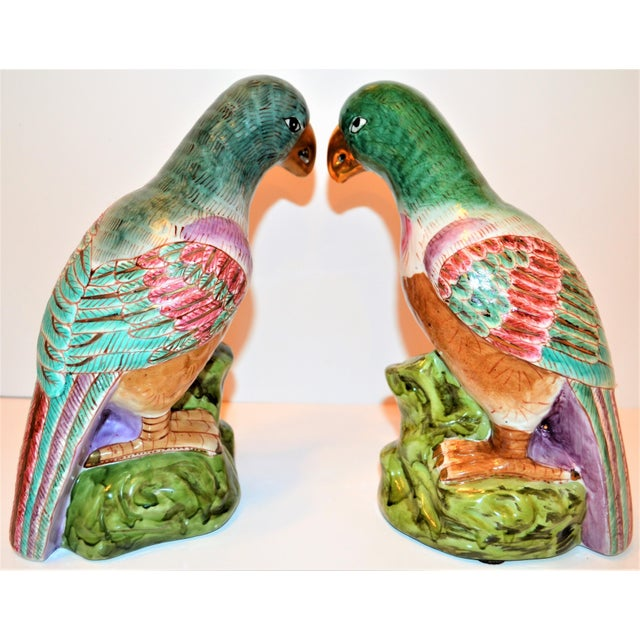 (Final Markdown) Green Majolica Parrot Figurines - a Pair For Sale - Image 12 of 12