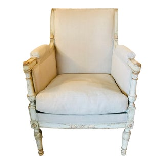 19th Century Carved and Painted Bergere For Sale