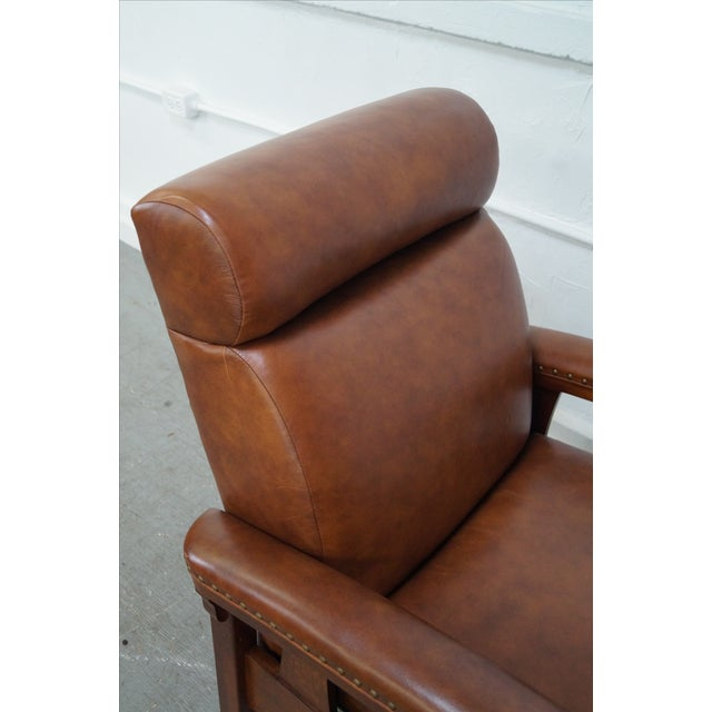 Mission Oak Leather Recliner Lounge Chair - Image 6 of 10