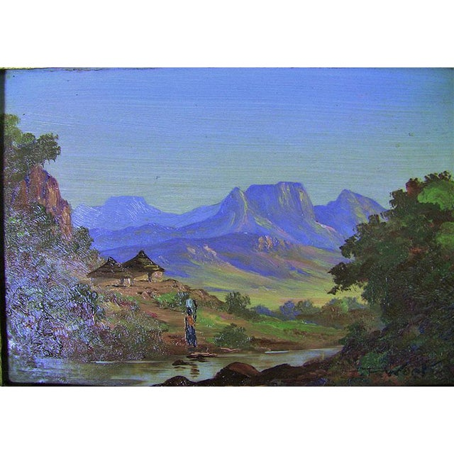20c Pair of Oil on Boards by Percy Wort of Natal South African Scenes For Sale - Image 4 of 8