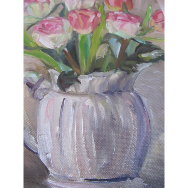 Tulips in a Pitcher Painting For Sale - Image 5 of 5
