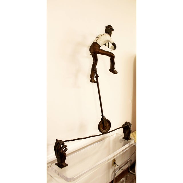 Contemporary Jerry Soble Balancing Man Bronze Mime Sculpture, Signed, 1991 For Sale In Detroit - Image 6 of 11