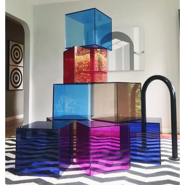 Shlomi Haziza Haziza Lucite Cube End Tables in Deep Blue, a Pair For Sale - Image 4 of 5