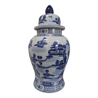 Handmade Blue and White Chinoiserie Vase from China For Sale