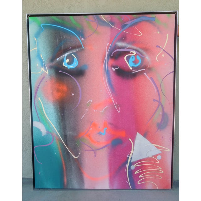 1980s Style Glam Monumental Painting Female Face by Greg Copeland For Sale In Palm Springs - Image 6 of 7