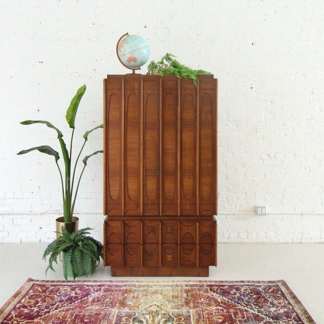 Wood 1970's Brutalist Highboy Armoire For Sale - Image 7 of 9