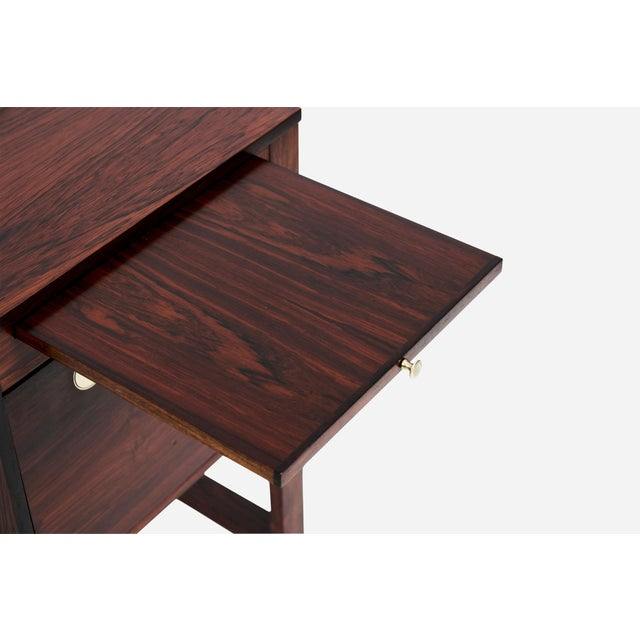 1960s Rosewood Desk With Brass Pulls, Denmark, 1960s For Sale - Image 5 of 8