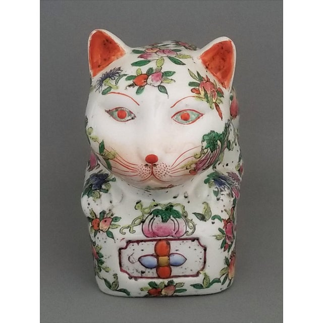 Chinese Ceramic Porcelain Cat Table Sculpture Pillow Sculpture For Sale - Image 4 of 12