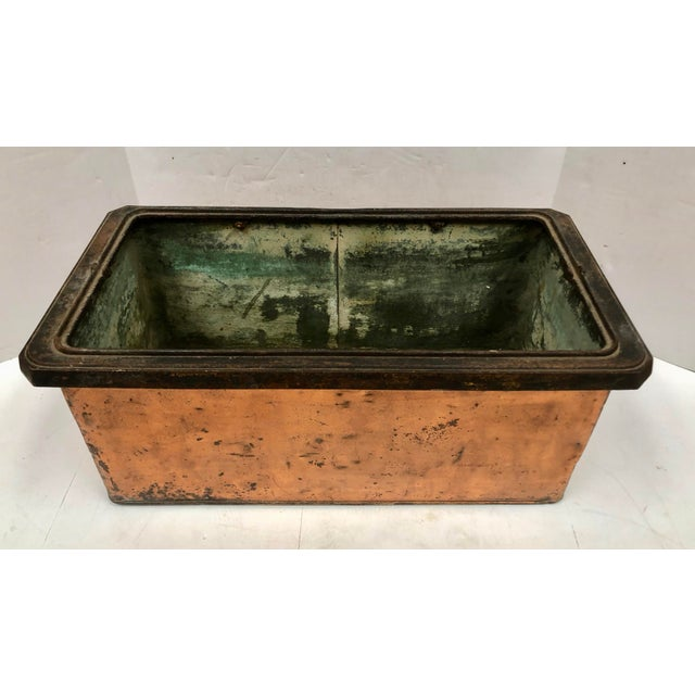 1930s Vintage French Rectangular Copper Planter For Sale In Dallas - Image 6 of 9