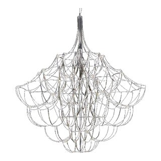 "Curved Nickel Chandelier ""Baxter Suspension Lamp"" For Sale"