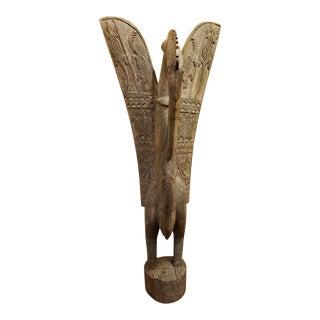 20th C African Senufo Hornbill Bird Wood Sculpture For Sale