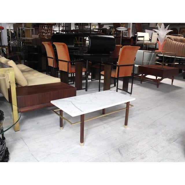 Very nice Mid-Century Modern rectangular coffee table by Harvey Probber. Nice around perimeter solid brass stretcher.