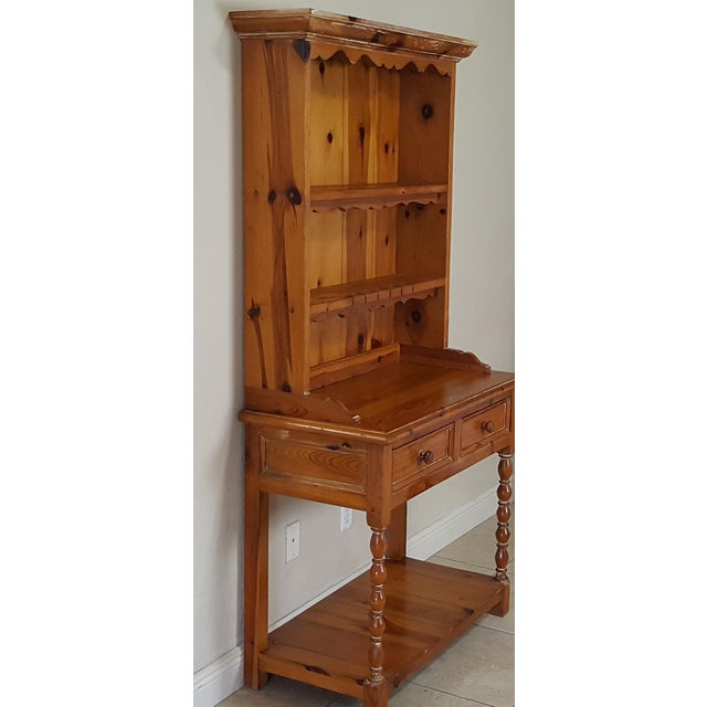 Lovely 2 pieces Rustic Style Pine China Hutch sideboard with spindles. Perfect for a cabin with a western style look....