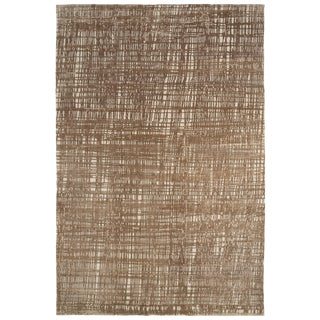 Carini Contemporary Neutral Wool and Silk Rug -6′ × 9′ For Sale