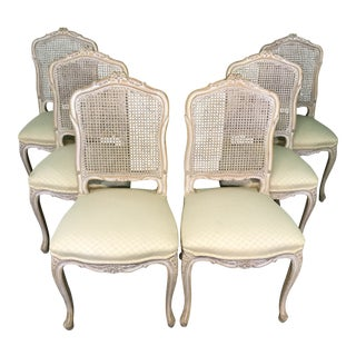 French Country Carved Caned Back Upholstered Chairs-Six For Sale