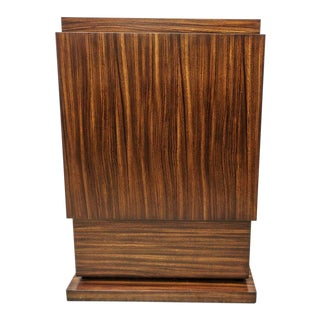 Art Deco Style Pedestal in Zebrano Wood For Sale