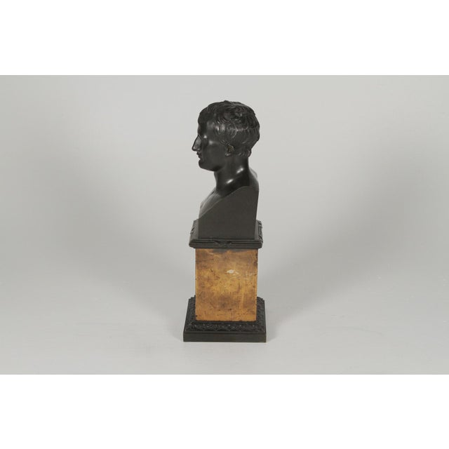 1900s 1900's Traditional Bronze Bust on a Marble Base For Sale - Image 5 of 10