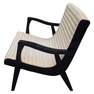 Mid-Century Black & Ivory Vinyl Lounge Chair For Sale