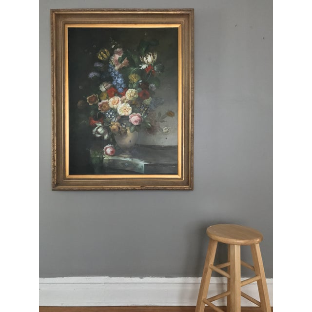 Late 20th Century Nancy Lee Floral Still Life Oil on Canvas Painting For Sale - Image 4 of 11