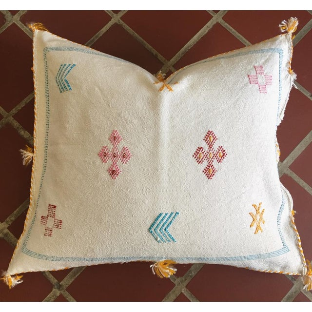 White Moroccan Sabra Cactus Silk Pillow Cover - Image 8 of 10
