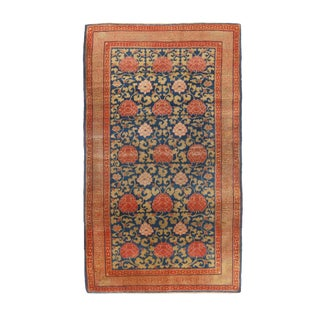 1910s Rustic Khotan SamarkandTransitional Blue and Red Wool Rug For Sale