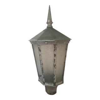 Large Aluminum and Glass Pane Lantern For Sale