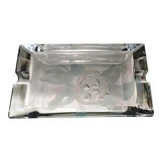 Clear Crystal Ashtray Etched Frosted Rose Rectangular