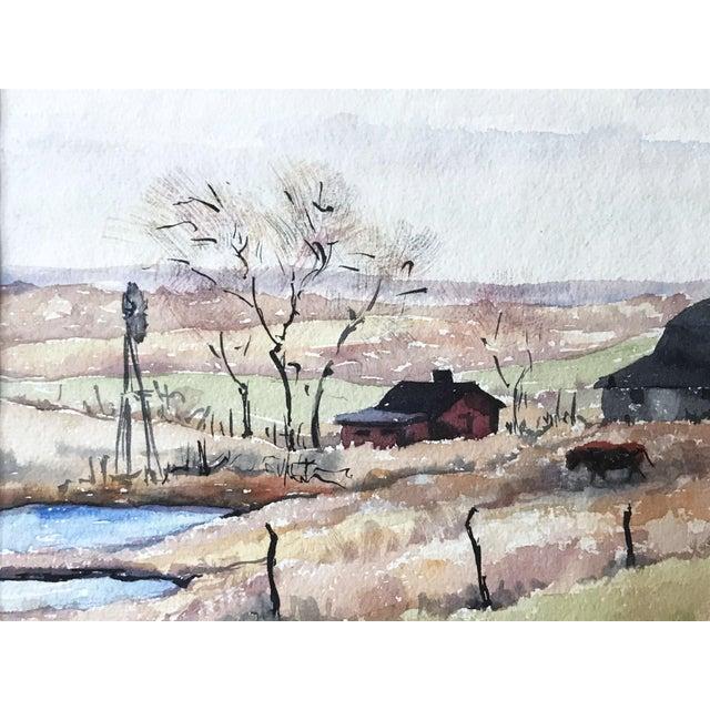 Americana Vintage Watercolor Landscape W/ Farm For Sale - Image 3 of 6